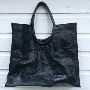 "Handbags - Large 16"" x 18"" x 5"" Black Leather Tote"
